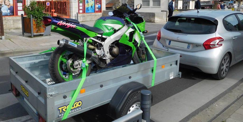 motorbike on trailer