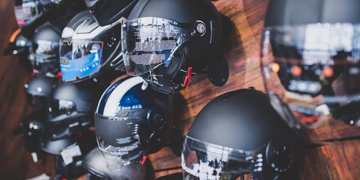 motorcycle helmets on wall
