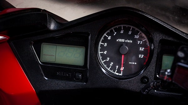 Closeup motorcycle tachometer