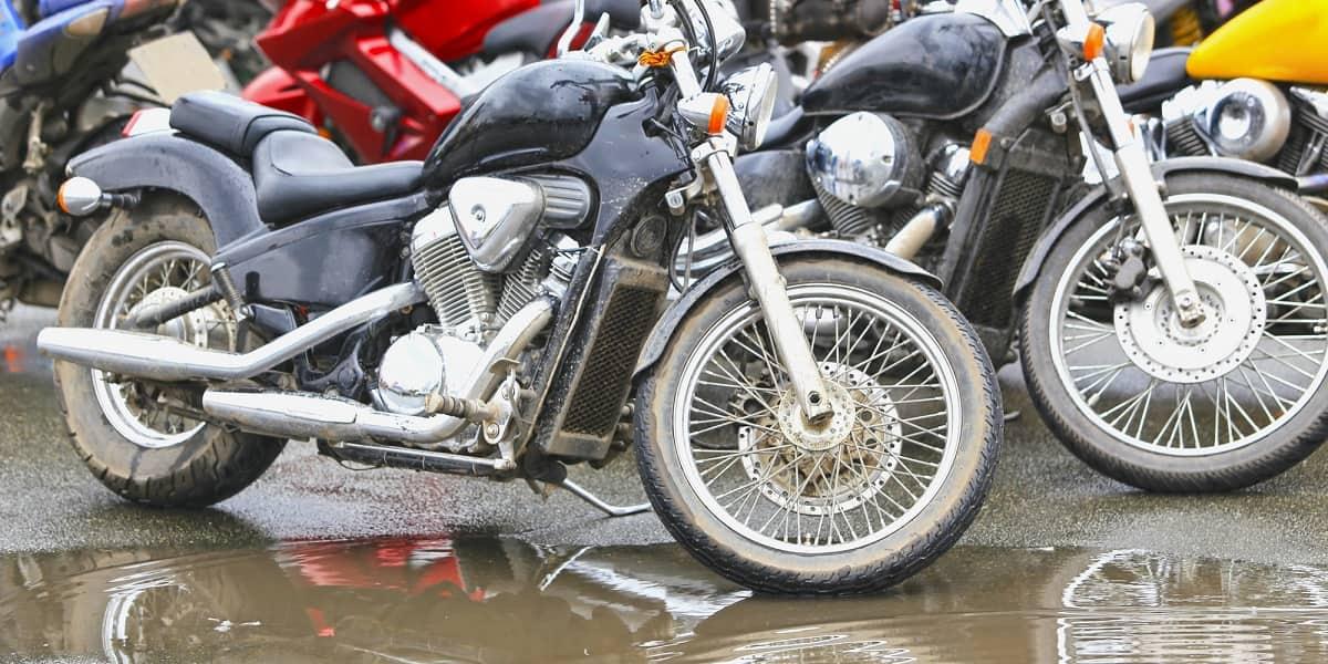motorbikes parked in rain